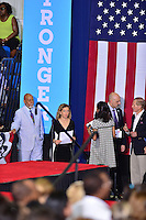 CORAL SPRINGS, FL - SEPTEMBER 30: United States Congressman Alcee Hastings, Rep. Debbie Wasserman Schultz (D-FL), Raul Martinez and Sen. Bill Nelson (D-FL) attend the Democratic presidential candidate Hillary Clinton campaign rally at Coral Springs Gymnasium on September 30, 2016 in Coral Springs, Florida. Clinton continues to campaign against her Republican opponent Donald Trump before election day on November 8th.  Credit: MPI10 / MediaPunch