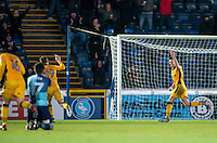 Mark Randall (right) of Newport County celebrates his goal during the Sky Bet League 2 match between Wycombe Wanderers and Newport County at Adams Park, High Wycombe, England on 2 January 2017. Photo by Andy Rowland.