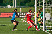 Kansas City, MO - Saturday May 27, 2017: Shea Groom, Alyssa Kleiner, Stephanie Labbé during a regular season National Women's Soccer League (NWSL) match between FC Kansas City and the Washington Spirit at Children's Mercy Victory Field.