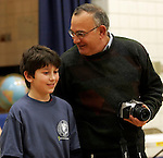 SEYMOUR, CT05 January 2006-010506TK10 (left to right:)The Lo Presti Middle School in Seymour held its annual National Geographic Geography Bee Thursday afternoon. Winner of the Geography Bee, Jackson Rioux receives congratulations from school principal Harry Gagliardi. Rioux will advance to state competition.   Tom Kabelka / Republican-American (National Geographic Geography Bee, Lo Presti Middle School, Jackson Rioux )CQ