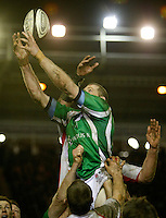 Photo: Richard Lane/Richard Lane Photography. England Legends v Ireland Legends. The Stuart Mangan Memorial Cup. 26/02/2010. Ireland's Paddy John wins a lineout.