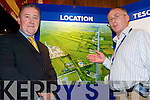 Tescos Info Day: Displaying the plans for the new Tesco store in Listowel in the Arms Hotel on Friday were Jerry Corcoran, Spinning Wheel Developments, with Michael Sullivan, Tesco Ireland..