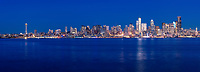 Panorama of Seattle skyline at night, viewed from West Seattle, Washington, USA