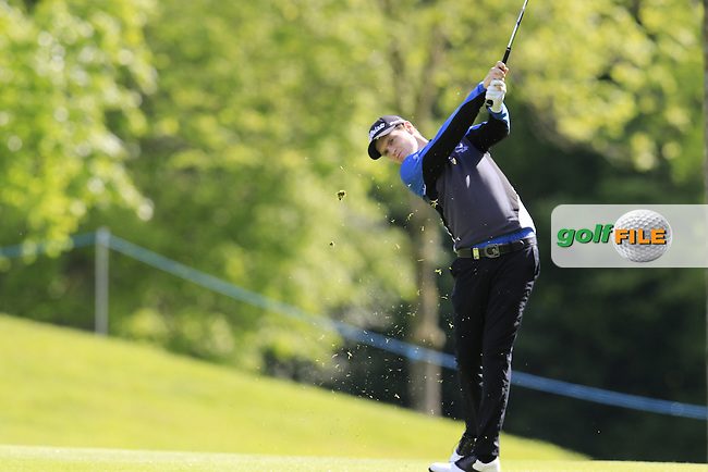 Kevin Phelan (IRL) plays his 2nd shot on the 11th hole during Sunday's Final Round of the 2016 Dubai Duty Free Irish Open hosted by Rory Foundation held at the K Club, Straffan, Co.Kildare, Ireland. 22nd May 2016.<br /> Picture: Eoin Clarke | Golffile<br /> <br /> <br /> All photos usage must carry mandatory copyright credit (&copy; Golffile | Eoin Clarke)