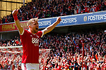 Nottingham Forest 3 Ipswich Town 0, 07/05/2017. City Ground, Championship. Jamie Ward of Nottingham Forest celebrates the second goal scored by Chris Cohen of Nottingham Forest during the game between Nottingham Forest v Ipswich Town at the City Ground Nottingham in the SkyBet Championship. Photo by Paul Thompson.