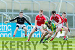 Ciarán O'Reilly Kerry in action against Fergal Malone and Dean McGreehan Louth in the All Ireland Minor Football Quarter Finals at O'Moore Park, Portlaoise on Saturday.