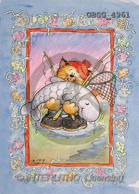 Ron, CUTE ANIMALS, paintings, animal, fishing(GBSG4961,#AC#) illustrations, pinturas ,everyday