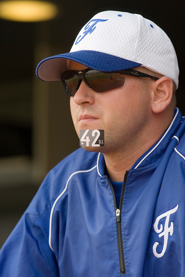 18 August 2007: Coach Joshua Ridgway is seen in the dugout prior to the China 5-1 victory over France in the Good Luck Beijing International baseball tournament (olympic test event) at the Wukesong Baseball Field in Beijing, China.