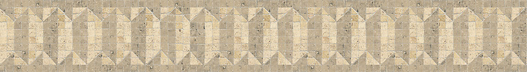 """5 1/2"""" Witherspoon border, a hand-cut stone mosaic, shown in honed Fontenay Claire and Jura Grey."""