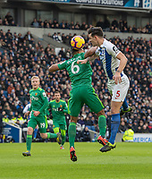 Brighton & Hove Albion's Lewis Dunk (right) battles with Watford's Adrian Mariappa (left) <br /> <br /> Photographer David Horton/CameraSport<br /> <br /> The Premier League - Brighton and Hove Albion v Watford - Saturday 2nd February 2019 - The Amex Stadium - Brighton<br /> <br /> World Copyright © 2019 CameraSport. All rights reserved. 43 Linden Ave. Countesthorpe. Leicester. England. LE8 5PG - Tel: +44 (0) 116 277 4147 - admin@camerasport.com - www.camerasport.com