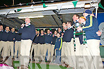 Mike Carroll and the Milltown/Castlemaine manager players sining the wild Caolonial boy for the crowd that gathered for the home coming in Milltown on Monday night