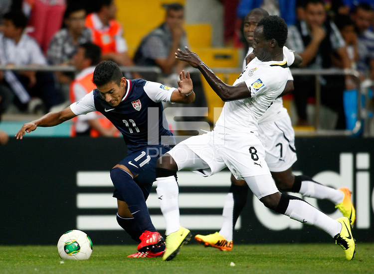 Ghana's Hector Joya (R) and USA's Jose Villarreal (L) during their FIFA U-20 World Cup Turkey 2013 Group Stage Group A soccer match Ghana betwen USA at the Kadir Has stadium in Kayseri on June 27, 2013. Photo by Aykut AKICI/isiphotos.com
