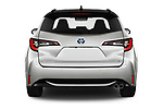 Straight rear view of 2019 Toyota Corolla-Touring-Sports Hybrid-Style 5 Door Wagon Rear View  stock images