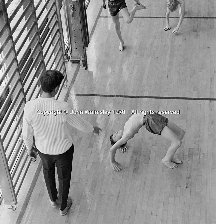 PE in the gym, Whitworth Comprehensive School, Whitworth, Lancashire.  1970.