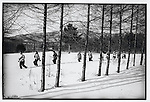 An all-female militia squad patrols the snow-covered Hufeng forestry center 75 miles southeast of Harbin; Shangzhi County, Heilongjiang Province, February 16, 1976.