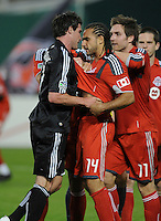 DC United forward Chris Pontius (13) gets into and argument with Toronto FC. forward Dwayne De Rosario (14) after a foul.    DC United tied Toronto FC. 3-3 at  RFK Stadium, Saturday May 9, 2009.