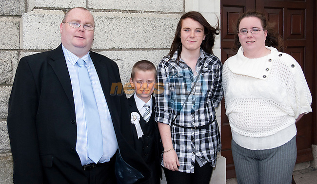 Anthony, Mark, Suzanne and Samantha Newman at Anthony's Communion..Picture: Shane Maguire / www.newsfile.ie.