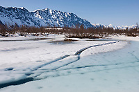 Overflow ice along the Copper River Delta, Chugach mountains, southcentral, Alaska