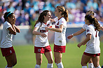 ORLANDO, FL - DECEMBER 03: Andi Sullivan #17 and Tierna Davidson #10 of Stanford University celebrate their victory over UCLA during the Division I Women's Soccer Championship held at Orlando City SC Stadium on December 3, 2017 in Orlando, Florida. Stanford defeated UCLA 3-2 for the national title. (Photo by Jamie Schwaberow/NCAA Photos via Getty Images)