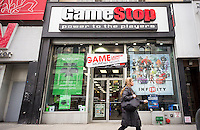 A GameStop store in Greenwich Village in New York on Wednesday, March 20, 2014. Wal-Mart announced that it will start purchasing used video games which is a major income stream for the retailer GameStop, which dominates the market.   (© Richard B. Levine)