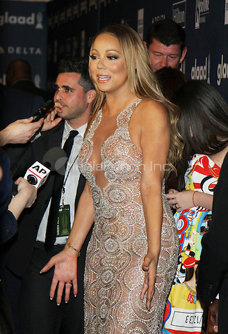NEW YORK, NY-May 14: Mariah Carey at 27th Annual GLAAD Media Awards at The Waldorf=Astoria in New York. NY May 14, 2016. Credit:RW/MediaPunch