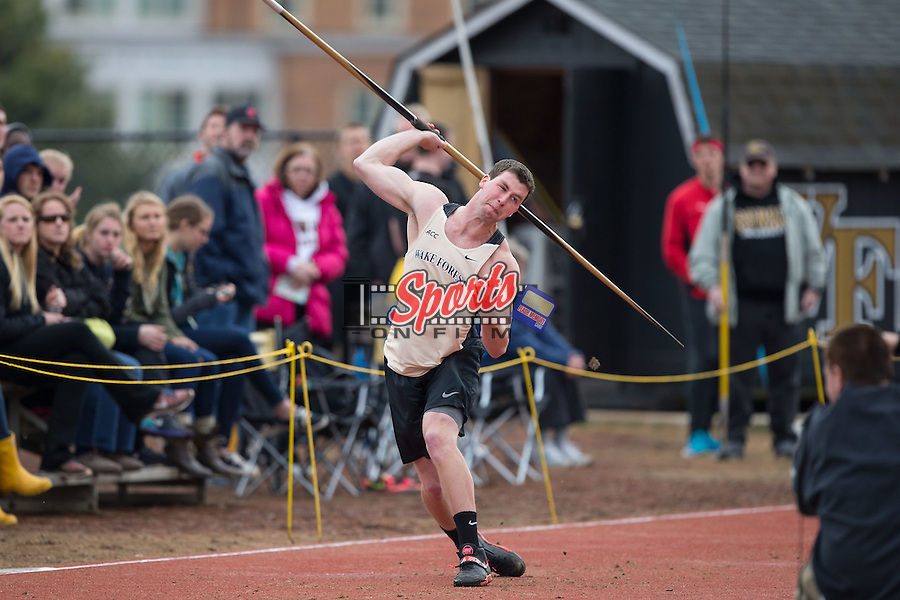 Aiden McConnell of the Wake Forest Demon Deacons competes in the men's javelin at the Wake Forest Open on March 20, 2015 in Winston-Salem, North Carolina.  (Brian Westerholt/Sports On Film)