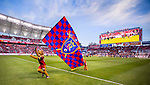 The Real Salt Lake mascot carries the team flag before the game Saturday, March 14, 2015, during the Major League Soccer game at Rio Tiinto Stadium in Sandy, Utah. (© 2015 Douglas C. Pizac)