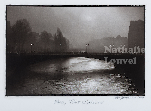 This is a Platinum Palladium print on Velum over silver leaf. <br />