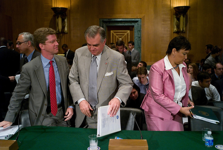 WASHINGTON, DC - June 16: House and Urban Development Secretary Shaun Donovan, Transportation Secretary Ray LaHood, and EPA Administrator Lisa P. Jackson at the end of the Senate Banking hearing on sustainable development and economic growth. (Photo by Scott J. Ferrell/Congressional Quarterly)