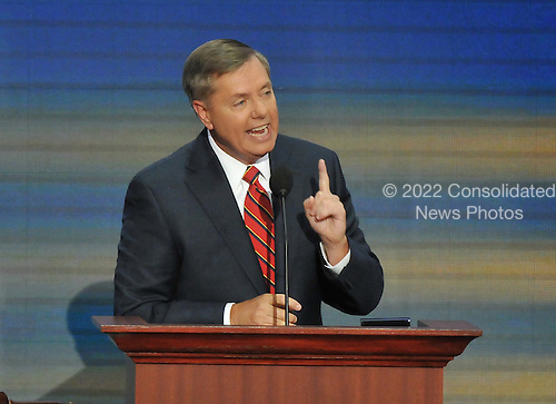 St. Paul, MN - September 4, 2008 -- United States Senator Lindsay Graham (Republican of South Carolina) speaks on day 4 of the 2008 Republican National Convention at the Xcel Energy Center in St. Paul, Minnesota on Thursday, September 4, 2008..Credit: Ron Sachs / CNP.(RESTRICTION: NO New York or New Jersey Newspapers or newspapers within a 75 mile radius of New York City)