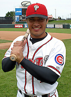 August 31, 2003:  Francisco Salas of the Lansing Lugnuts, Class-A affiliate of the Chicago Cubs, during a Midwest League game at Oldsmobile Park in Lansing, MI.  Photo by:  Mike Janes/Four Seam Images