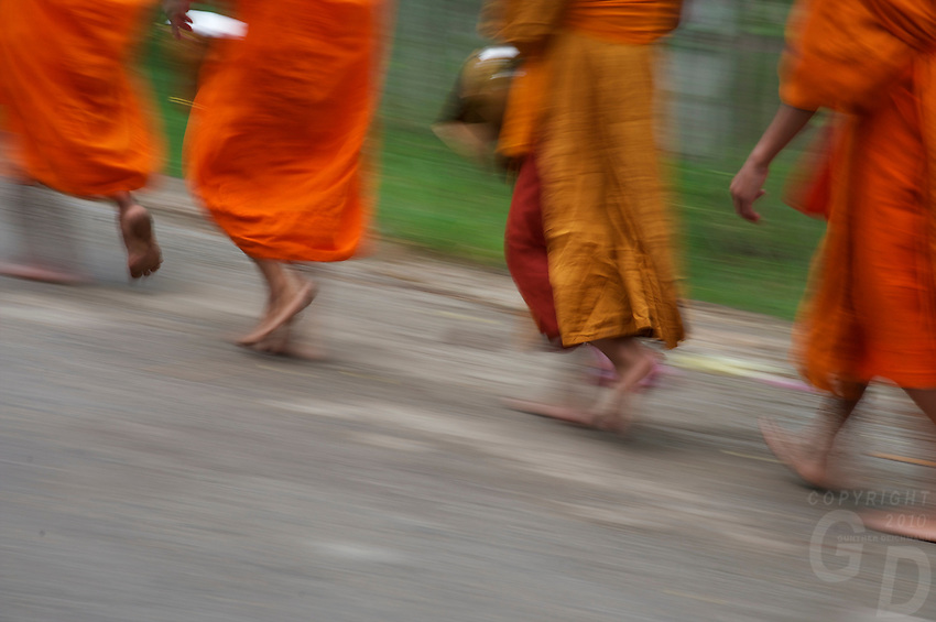 Luang Prabang Buddhist Monks in the morning