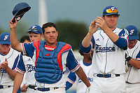 25 july 2010: Boris Marche of France thanks the crowd, next to Nicolas Dubaut during France 6-1 victory over Czech Republic, in day 3 of the 2010 European Championship Seniors, in Neuenburg, Germany.
