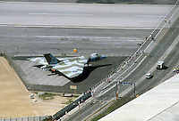 - the airport runway crossed by the road of access from Spain, old bomber aircraft Vulcan....- la pista dell'aeroporto attraversata dalla strada di accesso dalla Spagna, vecchio aereo da bombardamento Vulcan