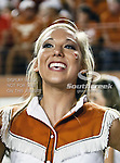 Texas Longhorns cheerleaders in action during the game between the Brigham Young Cougars and the Texas Longhorns at the Darrell K Royal - Texas Memorial Stadium in Austin, Texas. Texas defeats Brigham Young 17 to 16...