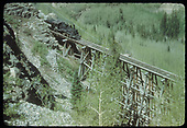 Elevated view of RGS #461 crossing Bridge 46-D light on Ophir High Line.  Notice that Bridge 44-A is in the valley, seen just above #461.<br /> RGS  Ophir High Line, CO  Taken by Kindig, Richard H. - 6/7/1951