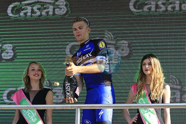 Marcel Kittel (GER) sprays the bubbly after winning Stage 2 of the 2016 Giro d'Italia running 190km from Arnhem to Nijmegen, The Nethrerlands. 7th May 2016.<br /> Picture: Eoin Clarke | Newsfile<br /> <br /> <br /> All photos usage must carry mandatory copyright credit (&copy; Newsfile | Eoin Clarke)
