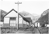 East facing view of Telluride depot and yards.  Goose #5 has just arrived as an extra and passengers are unloading.<br /> RGS  Telluride, CO  Taken by Hilner, Ray C. - 8/17/1950