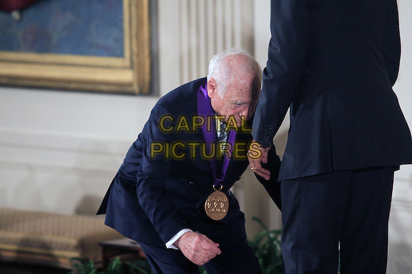 United States President Barack Obama presents the 2015 National Medal of Arts to Mel Brooks, Actor, Comedian, &amp; Writer of New York, New York during a ceremony in the East Room of the White House in Washington, DC on Thursday, September 22, 2016. <br /> CAP/MPI34<br /> &copy;MPI34/Capital Pictures