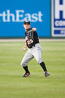 Center fielder Matt Angle (25) of the Delmarva Shorebirds gets the ball back to the infield at Fieldcrest Cannon Stadium in Kannapolis, NC, Wednesday, May 14, 2008.