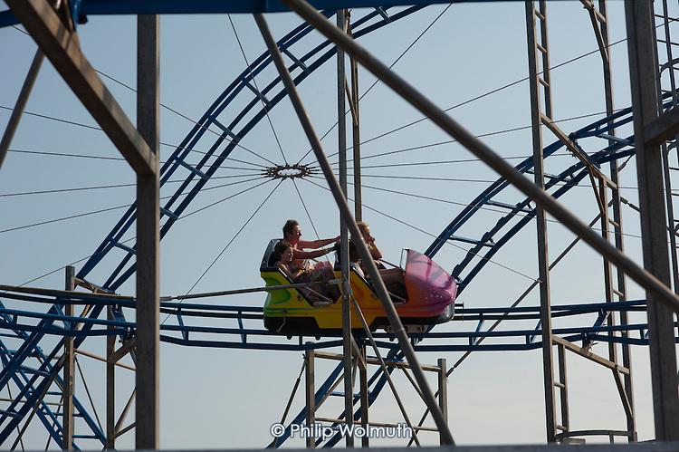 Roller Coaster ride on Clacton pier, Essex.