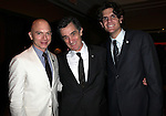 Michael Cerveris, Roger Rees & Alex Timbers.Behind the Scenes at the 2012 Tony Award-Meet The Nominees Press Reception at Millennium Broadway Hotel on May 2, 2012 in New York City. © Walter McBride/WM Photography .