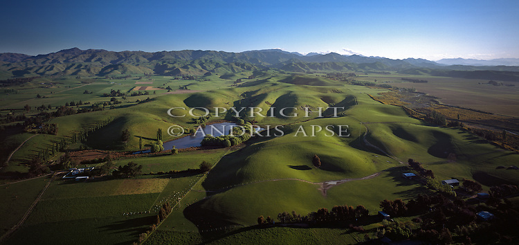 Aerial of Marlborough farmland. New Zealand.