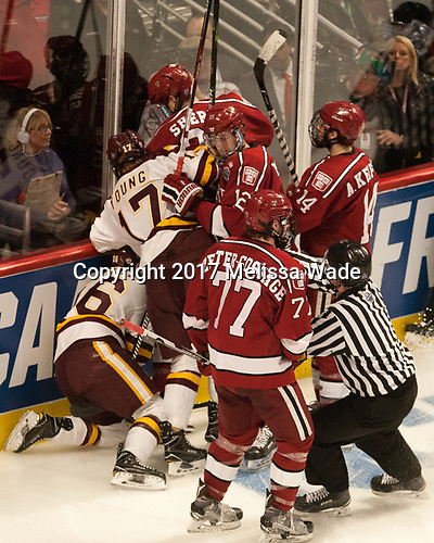 Lewis Zerter-Gossage (Harvard - 77), Billy Exell (UMD - 16), Blake Young (UMD - 17), Wiley Sherman (Harvard - 25), John Marino (Harvard - 12), Alexander Kerfoot (Harvard - 14) - The University of Minnesota Duluth Bulldogs defeated the Harvard University Crimson 2-1 in their Frozen Four semi-final on April 6, 2017, at the United Center in Chicago, Illinois.