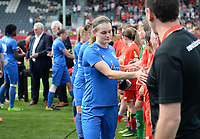 20180526 - Eupen , BELGIUM : Genk's players with Sylke Calleeuw look dejected after the final of Belgian cup 2018 , a soccer women game between KRC Genk Ladies and Standard Femina de Liege  , in the  Kehrweg stadion in Eupen , saturday 26 th May 2018 . PHOTO SPORTPIX.BE | DAVID CATRY
