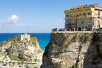Italy, Calabria, beach resort Protea: view point Largo Villetta and L'Isola (island) with sanctuary Santa Maria dell'Isola