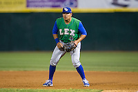 Lexington Legends first baseman Joshua Banuelos (4) on defense against the Hickory Crawdads at L.P. Frans Stadium on April 29, 2016 in Hickory, North Carolina.  The Crawdads defeated the Legends 6-2.  (Brian Westerholt/Four Seam Images)