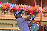 Gavin Green (MAS) tees off the 17th tee during Sunday's Final Round 4 of the 2018 Omega European Masters, held at the Golf Club Crans-Sur-Sierre, Crans Montana, Switzerland. 9th September 2018.<br /> Picture: Eoin Clarke | Golffile<br /> <br /> <br /> All photos usage must carry mandatory copyright credit (&copy; Golffile | Eoin Clarke)