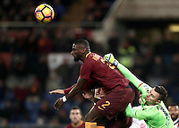 Calcio, Serie A: Roma vs Cagliari, Roma, stadio Olimpico, 22 gennaio 2017.<br /> Roma's Antonio Rudiger, right, in action with Cagliari's goalkeeper Rafael, left, during the Italian Serie A football match between Roma and Cagliari at Rome's Olympic stadium, 22 January 2017.  <br /> UPDATE IMAGES PRESS/Isabella Bonotto