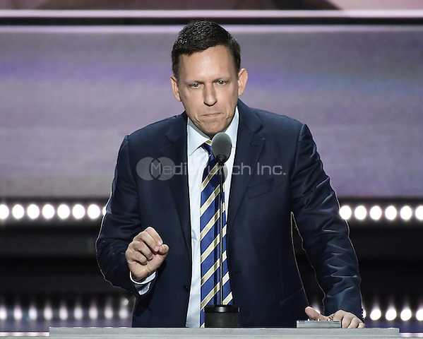 Peter Thiel, Venture Capitalist makes remarks at the 2016 Republican National Convention held at the Quicken Loans Arena in Cleveland, Ohio on Thursday, July 21, 2016.<br /> Credit: Ron Sachs / CNP/MediaPunch<br /> (RESTRICTION: NO New York or New Jersey Newspapers or newspapers within a 75 mile radius of New York City)